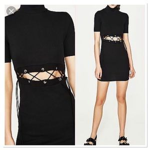 Zara Black Turtleneck Lace Up cutout Bodycon dress